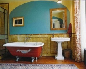 A colorful bathroom.