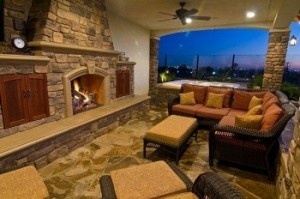 Enjoy an outdoor living space with a fireplace.
