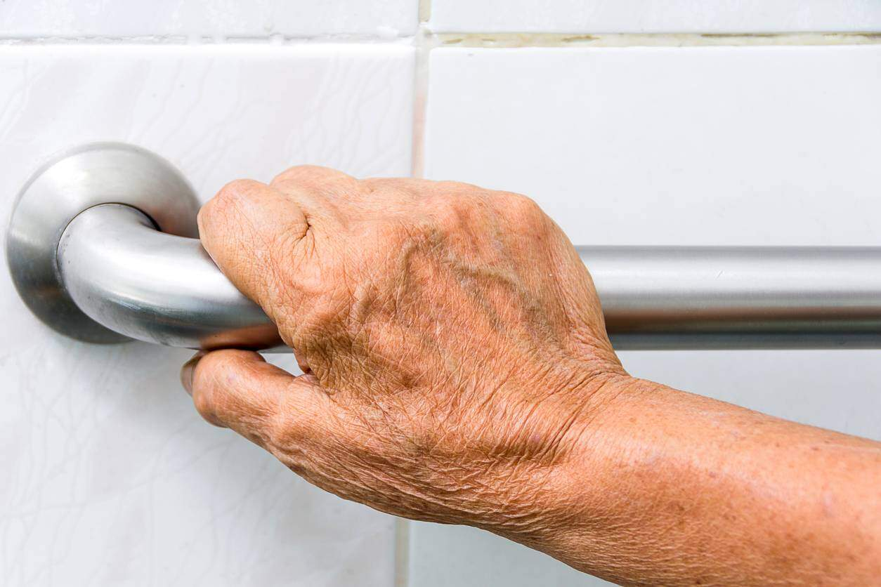 hand on shower safety bar